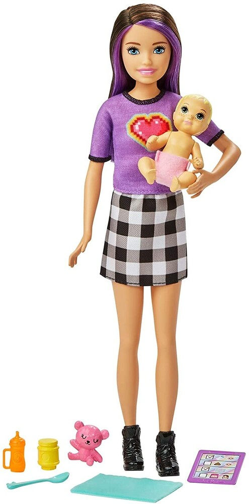 - Mattel - Barbie Skipper Babysitters Inc. Doll & Accessories, Brunette with Purple Streaks
