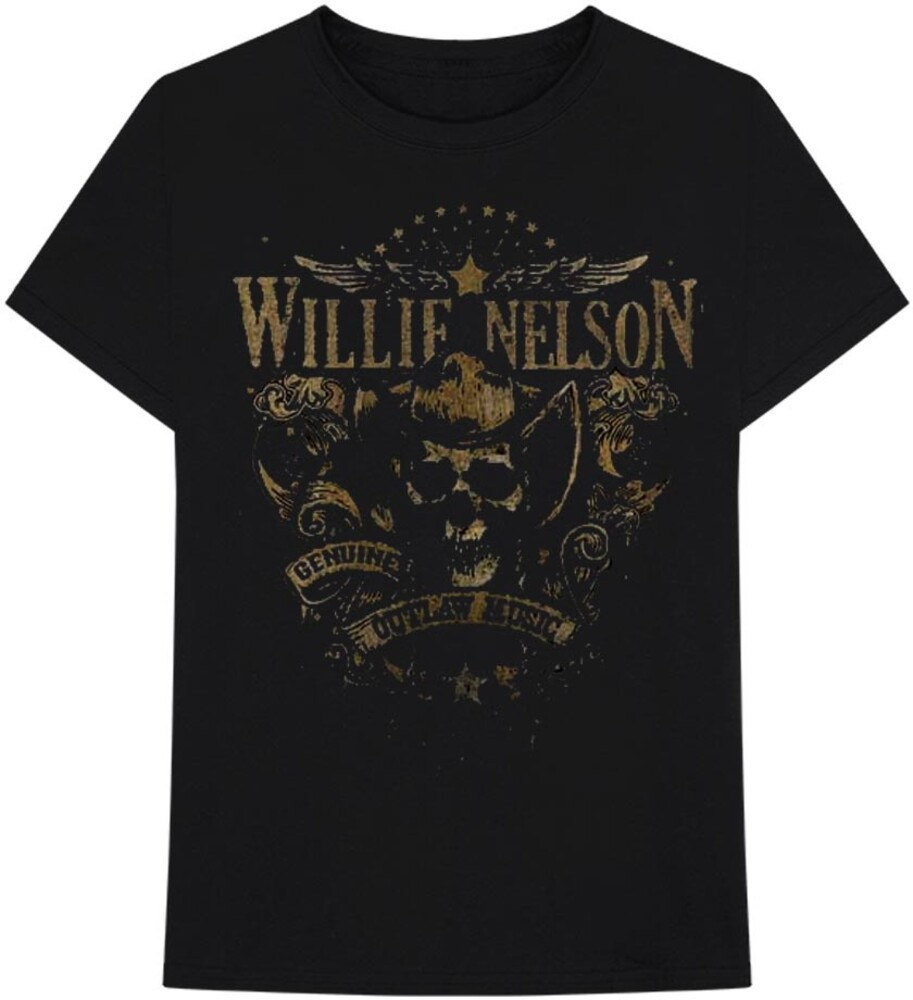 Willie Nelson Genuine Outlaw Music Blk Ss Tee M - Willie Nelson Genuine Outlaw Music Black Unisex Short Sleeve T-shirtMedium