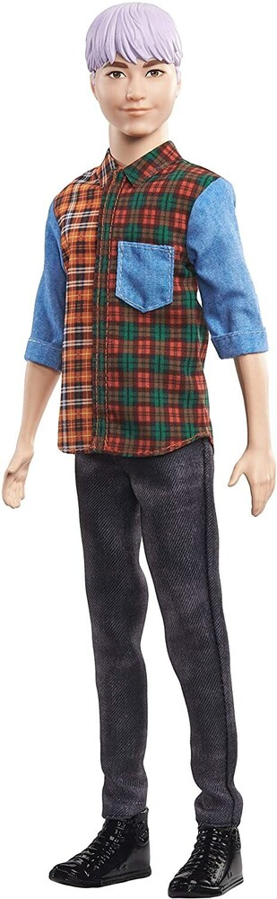 - Mattel - Barbie Ken Fashionista, with Sculpted Purple Hair Wearing A Color-Blocked Plaid Shirt, Black Denim Pants & Boots