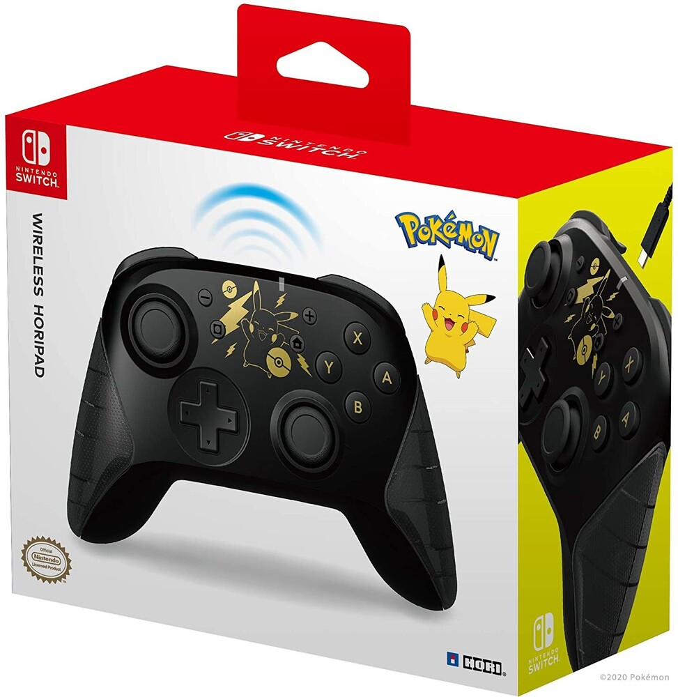 Hori Swi Wireless Horipad - Pikachu Black & Gold - HORI Wireless HORIPAD (Pikachu Black & Gold) for Nintendo Switch