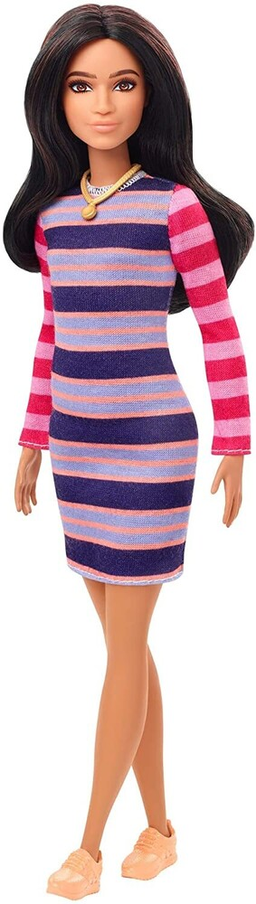 - Mattel - Barbie Fashionista, with Long Brunette Hair Wearing Striped Dress, Orange Shoes & Necklace