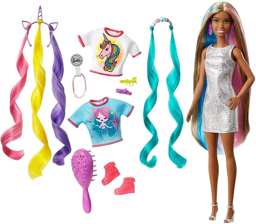 Barbie - Mattel - Barbie Fantasy Hair, African American with Unicorn and Meraid Hair Crowns