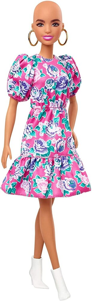- Mattel - Barbie Fashionista, with No-Hair Look Wearing Pink Floral Dress, White Booties & Earrings
