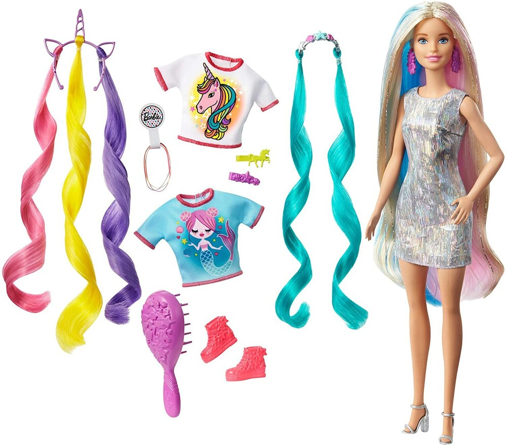 Barbie - Mattel - Barbie Fantasy Hair, Blonde with Unicorn and Meraid Hair Crowns