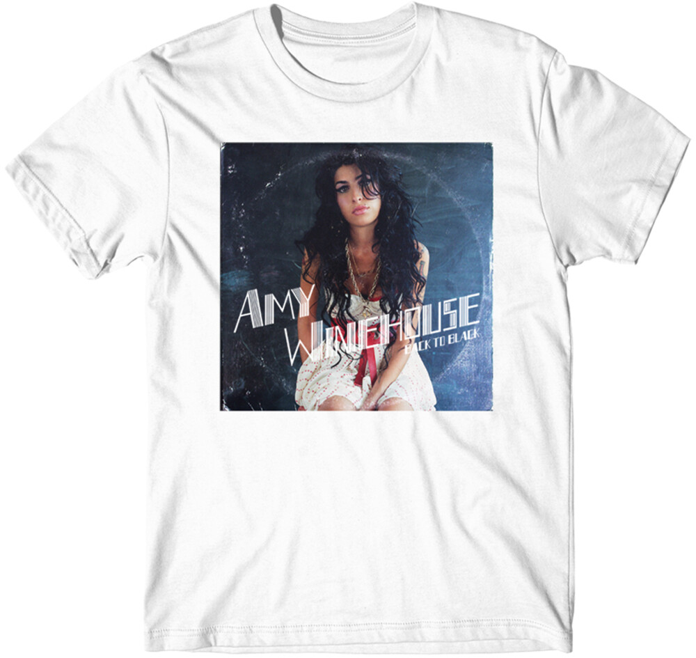 Amy Winehouse - Amy Winehouse Back To Black Vinyl LP Album Cover White Unisex ShortSleeve T-Shirt 2XL