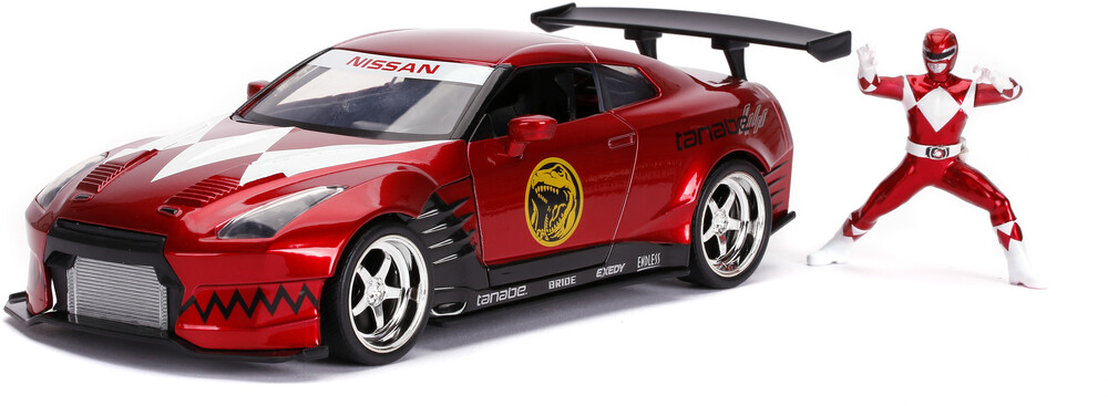 - Jada 1:24 Diecast 2009 Nissan GT-R With Red Ranger Figure