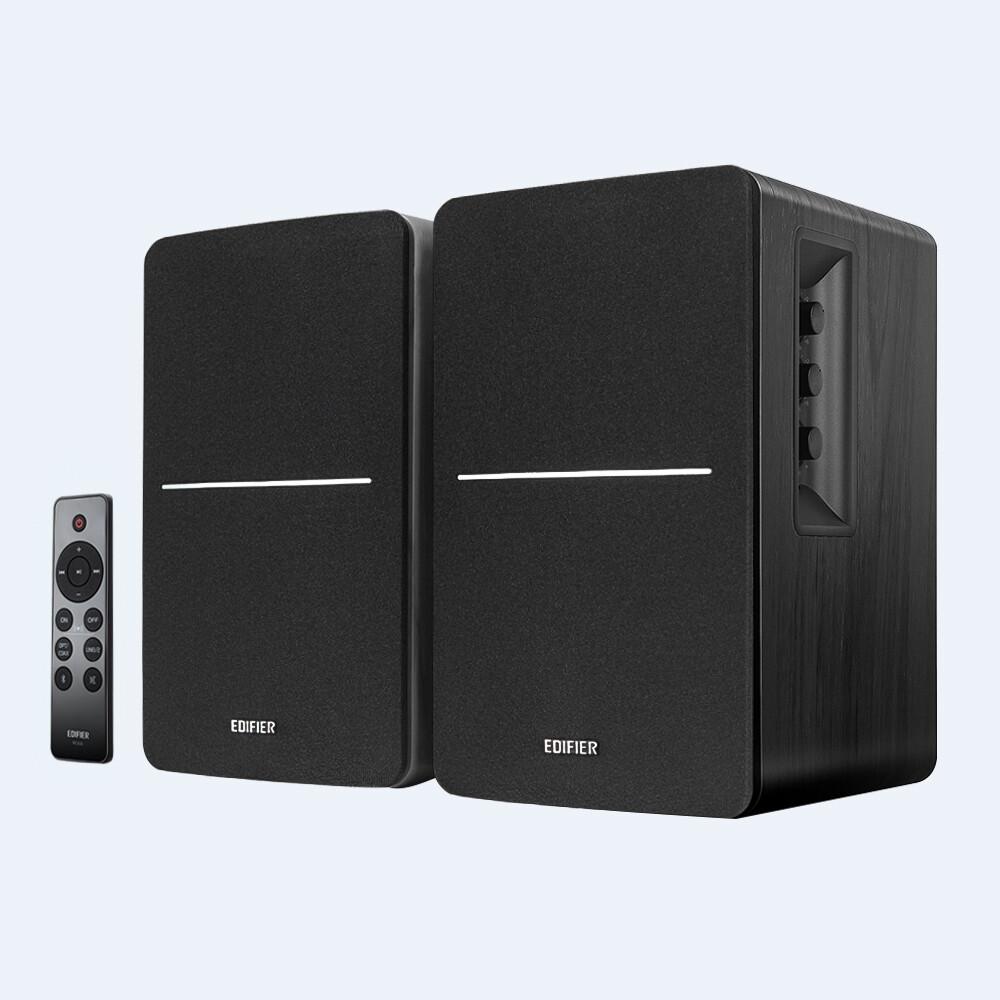- Edifier 4004964 R1280DBs Black Powered Bluetooth 5.0 Wireless Desktop/Bookshelf Speakers Pair 42 Watts With Built in Amp and Mul