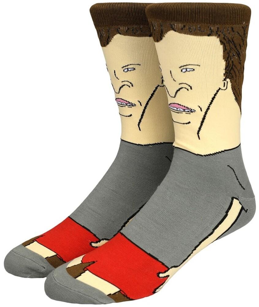 Beavis & Butt-Head Butt-Head Crew Socks Size 8-12 - Beavis & Butt-head Butt-head 360 Character Print Crew Socks Men's Shoe Size 8-12
