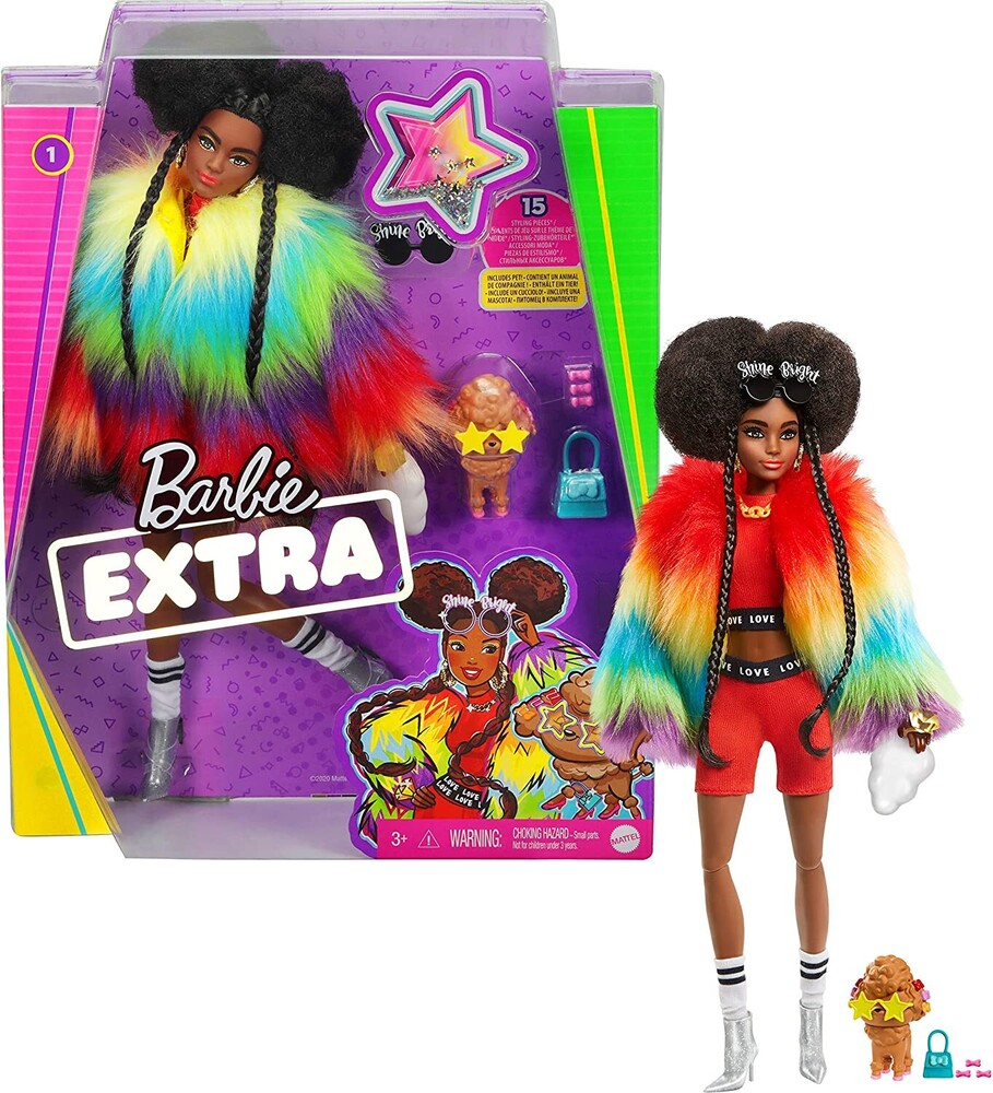 - Mattel - Barbie Extra Doll 1, Rainbow Coat