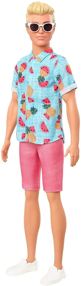 - Mattel - Barbie Ken Fashionista, with Sculpted Blonde Hair Wearing Blue Tropical-Print Shirt, Coral Shorts, White Shoes & White