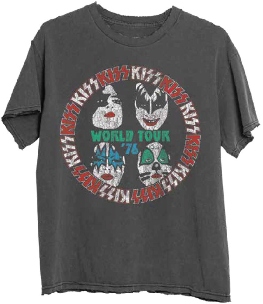- Kiss World Tour '76 Black Ss Tee L (Blk) (Lg)