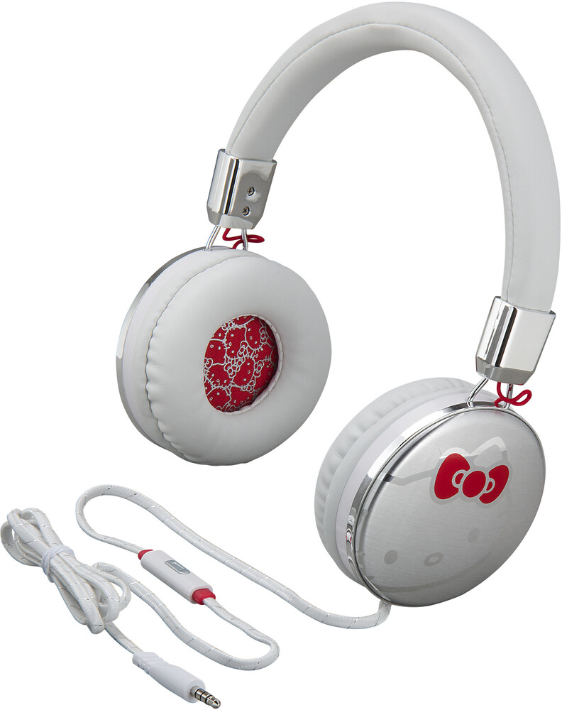 Hello Kitty Hy-M48.Fxv8 Fashion Hdphn Mic White - Hello Kitty HY-M48.FXV8 Fashion Headphones Bow Tie Logo Built inMicrophone (White)