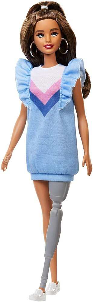 - Mattel - Barbie Fashionista, with Long Brunette Hair and Prosthetic Leg Wearing Sweater Dress