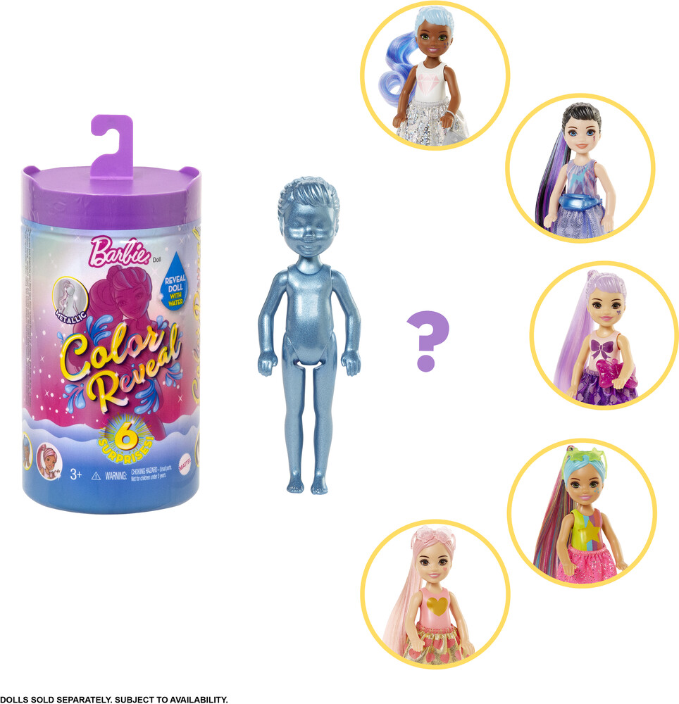 Barbie - Mattel - Barbie Color Reveal Chelsea: Glitter Series, One Surprise Color Reveal with Each Transaction