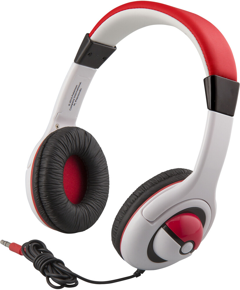 Pokemon Pk-140.Fxv6 Pokeball Yth Hdphn Red/White - Pokemon PK-140.FXV6 Pokeball Youth Headphones On Ear With VolumeLimiting (Red/White)