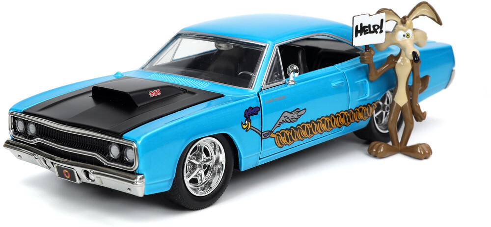 1:24 1970 Plymouth Roadrunner W/ Wile E Coyote Fig - Jada 1:24 Diecast 1970 Plymouth Roadrunner With Wile E Coyote Figure