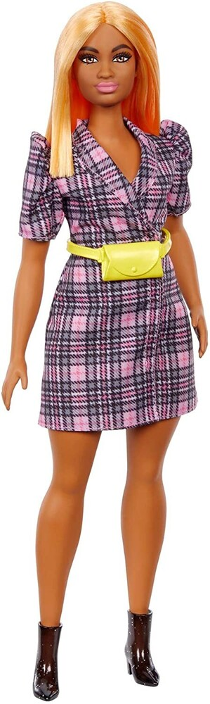 - Mattel - Barbie Fashionista Doll, with Puff Sleeve Plaid Blazer Dress