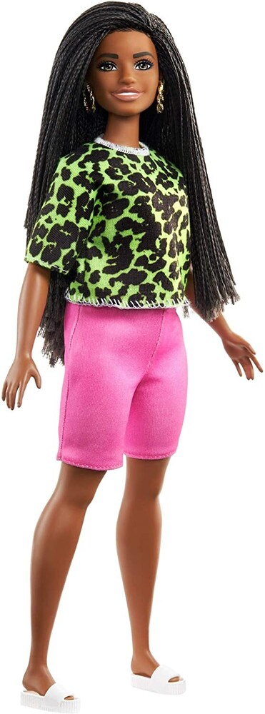 - Mattel - Barbie Fashionista, with Long Brunette Braids Wearing Neon Green Animal-Print Top, Pink Shorts and White Sandals