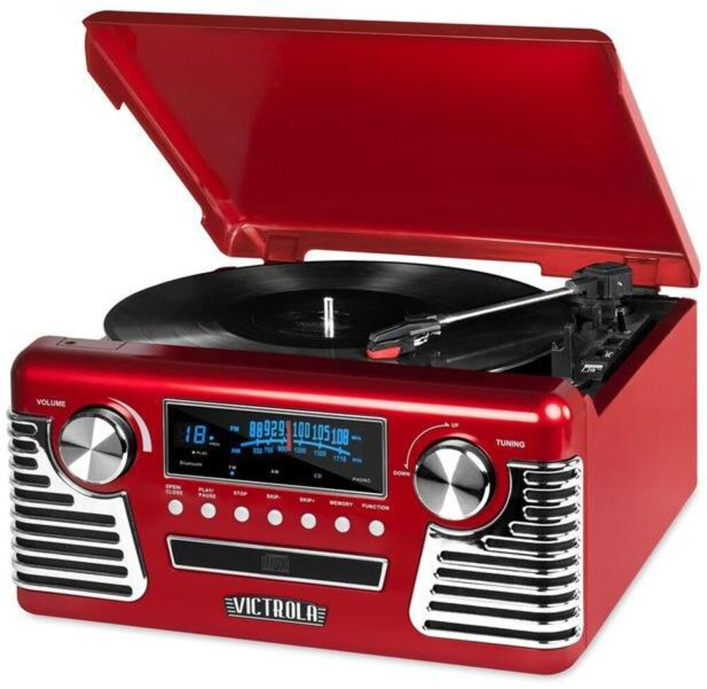 Victrola V50200Red Retro Bt 7/1 Music Ctr Cass Red - Victrola V50200red Retro Bt 7/1 Music Ctr Cass Red