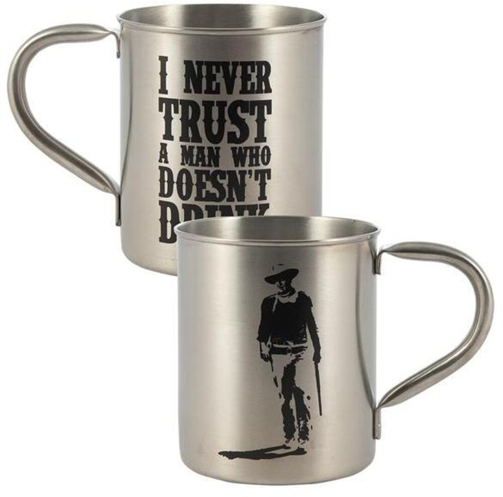 John Wayne I Never Trust a Man Tin Camp Mug - John Wayne I Never Trust A Man Who Doesn't Drink Tin Camp Mug
