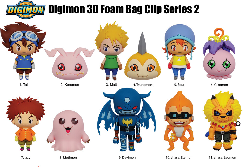 Digimon Series 2 - 3D Foam Bag Clips in Blind Bags - Digimon Series 2 - 3D Foam Bag Clips in Blind Bags (One Random Bag Clip Per Purchase)