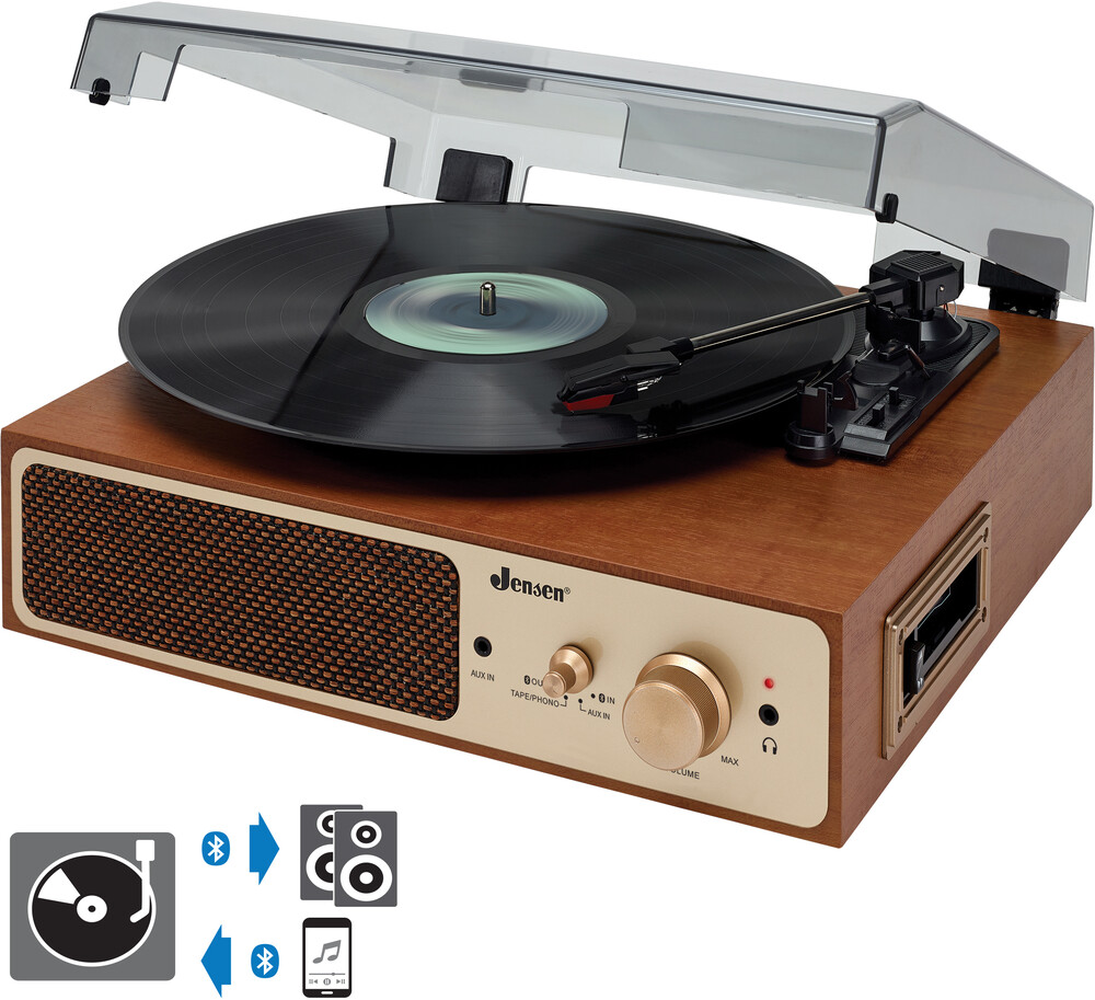 Jensen Jta245 Bt Turntable 3 Spd Cass Spkrs Brown - Jensen JTA-245 Dual Receive/Transmit Bluetooth Wireless Turntable 3-Speed (33/45/78 RPM) Belt Drive - Automatic - Cassette Playe