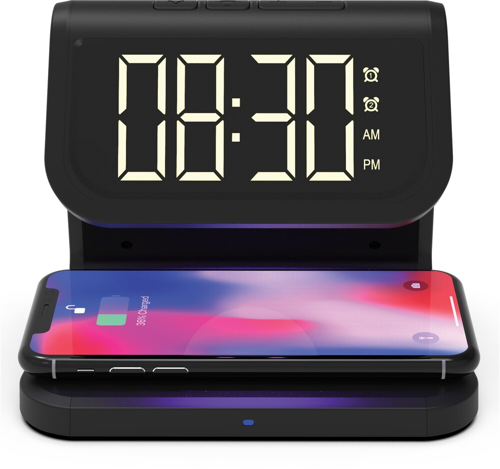 Supersonic Sc6035Quvuv Strlzr Qi Charger Clck Blk - Super Sonic SC-6035QUV 3 in 1 Combo UV Sterilizer QI Certified Wireless Charger Dual Alarm Clock (Black)