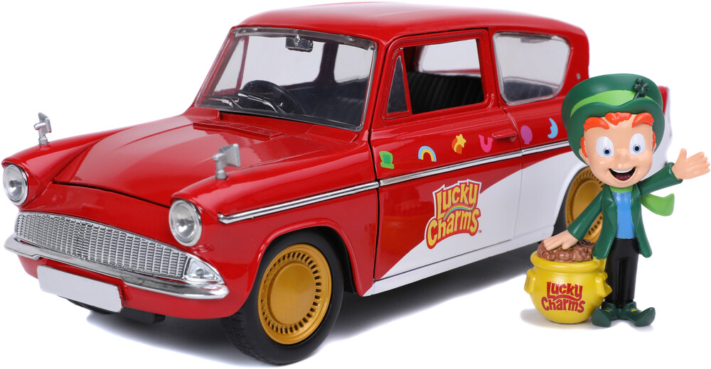 - Jada 1:24 Diecast Lucky Charms 1959 Ford Anglia with Lucky theLepruchan figure