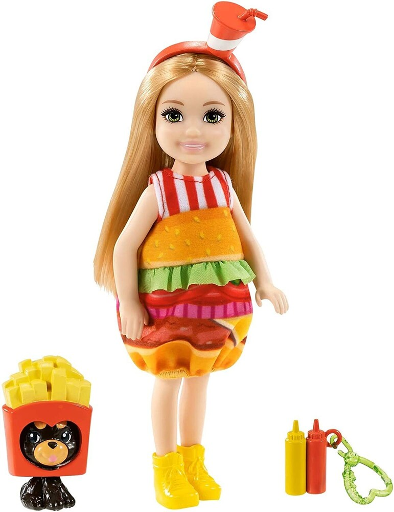 - Mattel - Barbie Club Chelsea, Burger Dress-Up Costume Doll with Pet