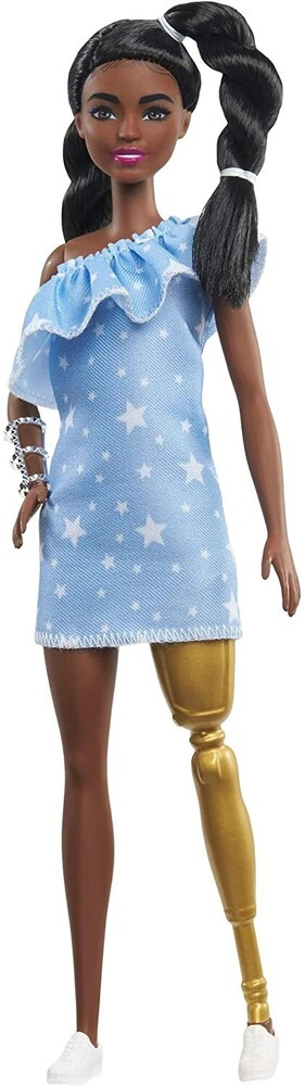 - Mattel - Barbie Fashionista, with 2 Twisted Braids & Prosthetic Leg Wearing Star-Print Dress, White Shoes & Arm Bracelet