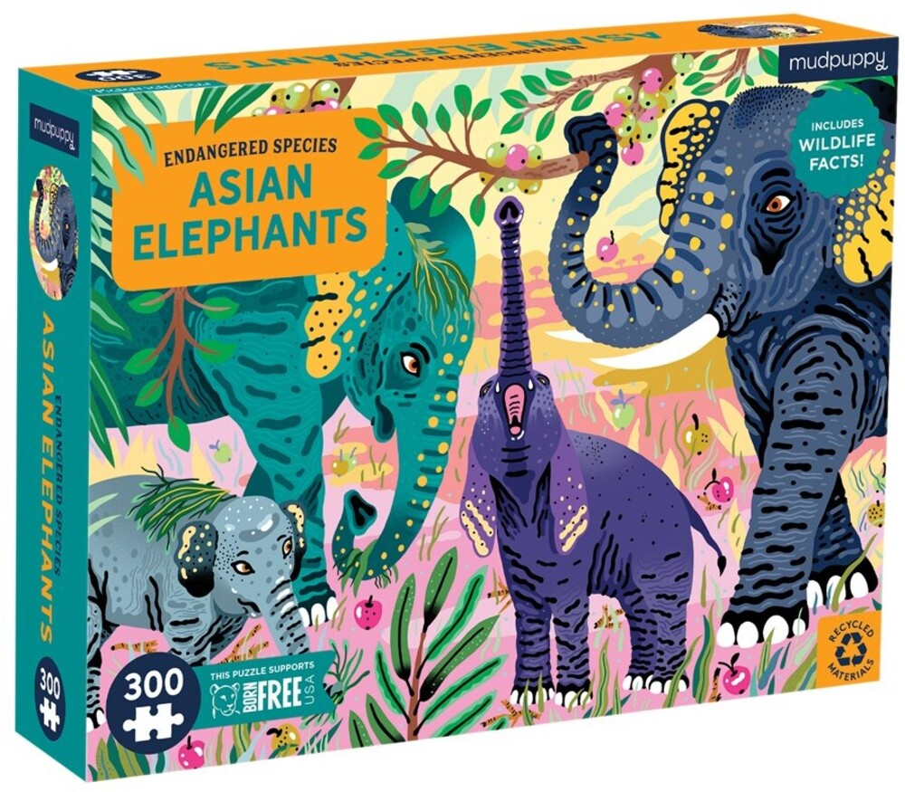 - Asian Elephants Endangered Species 300 Piece Puzzle