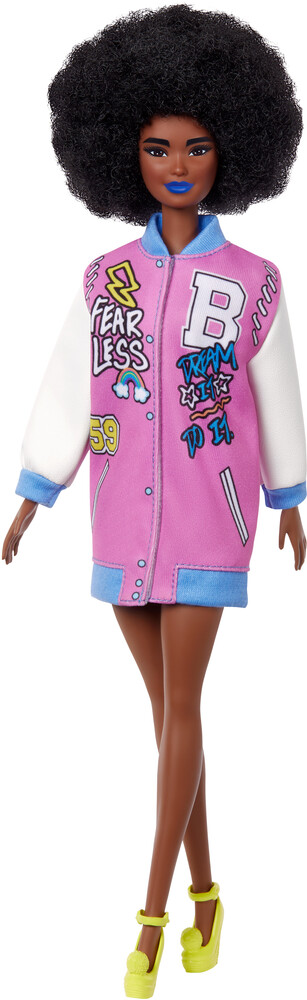 - Mattel - Barbie Fashionista, Curly Brunette Hair with Letterman Jacket
