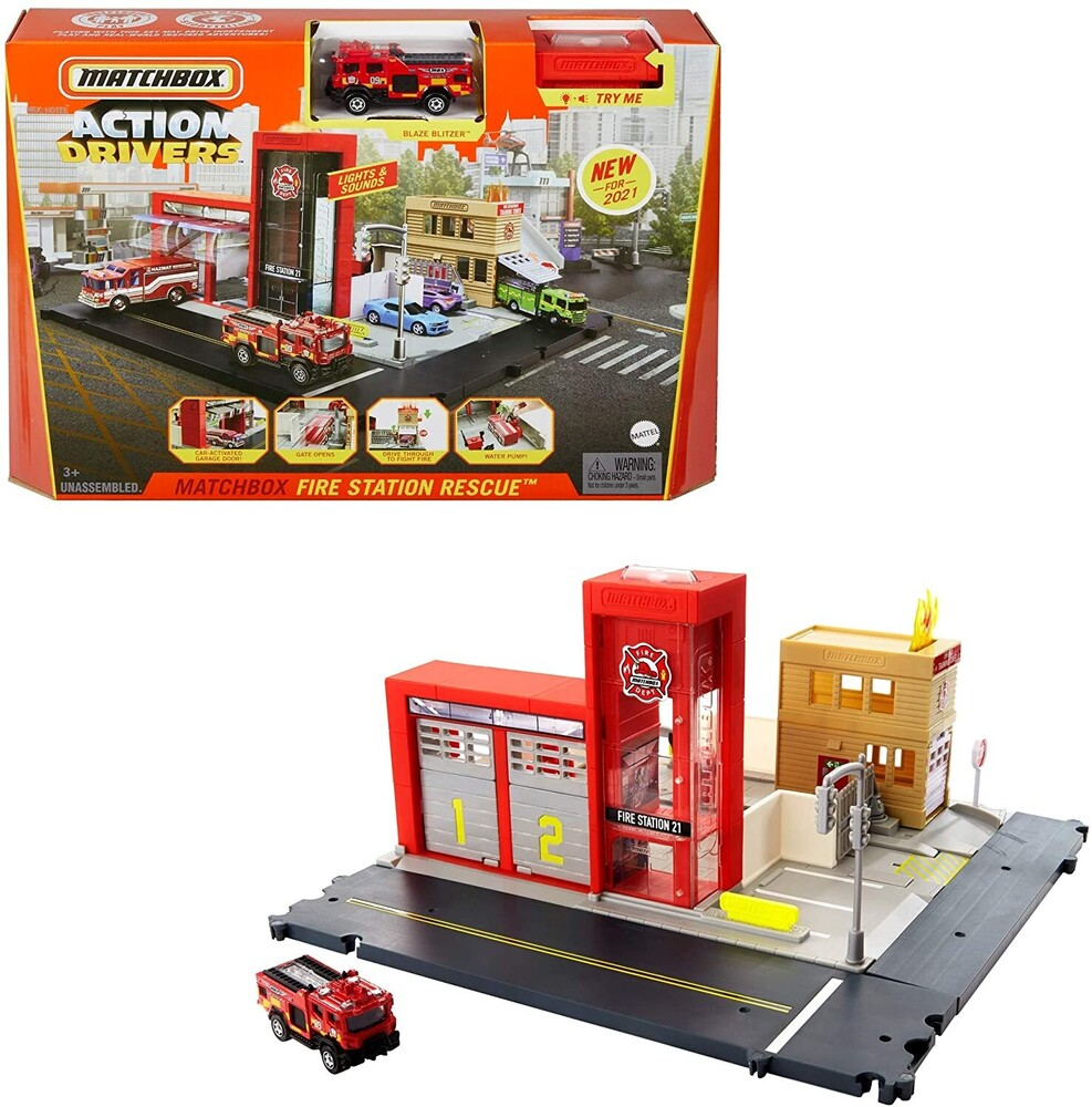 - Mattel - Matchbox Fire Station Rescue Playset