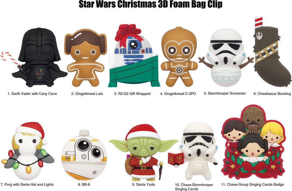 Star Wars Christmas 3D Foam Bag Clip in Blind Bag - Star Wars Christmas - 3D Foam Bag Clip in Blind Bag (One Random Bag Clip Per Purchase)