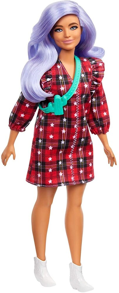 - Mattel - Barbie Fashionista, Curvy with Lavender Hair Wearing Red Plaid Dress