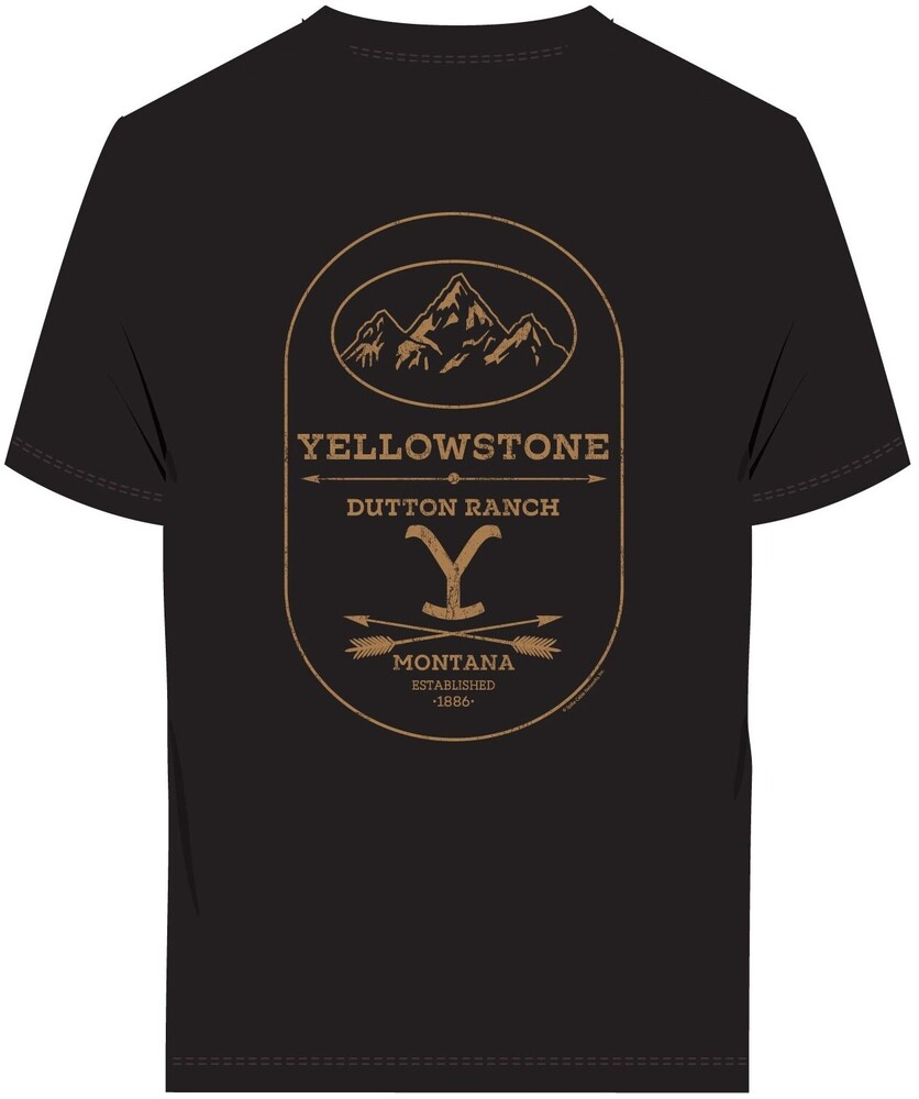 Yellowstone Dutton Ranch Montana Ss Tee Medium - Yellowstone Dutton Ranch Montana Established 1886 Label Black UnisexShort Sleeve T-shirt Medium