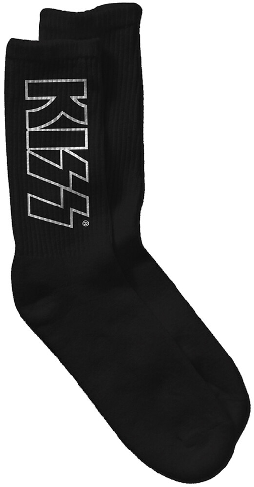 Kiss - Kiss Logo Black Unisex Crew Socks Men's Shoe Size 6-12