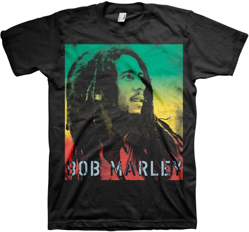 Bob Marley Gradient Stencil Black Ss Tee L - Bob Marley Gradient Stencil Black Ss Tee L