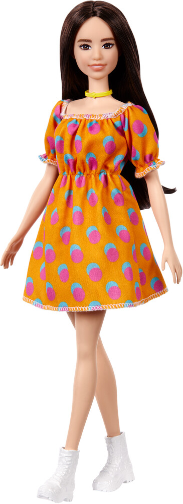 - Mattel - Barbie Fashionista, Brunette with Orange Polka Dot Dress