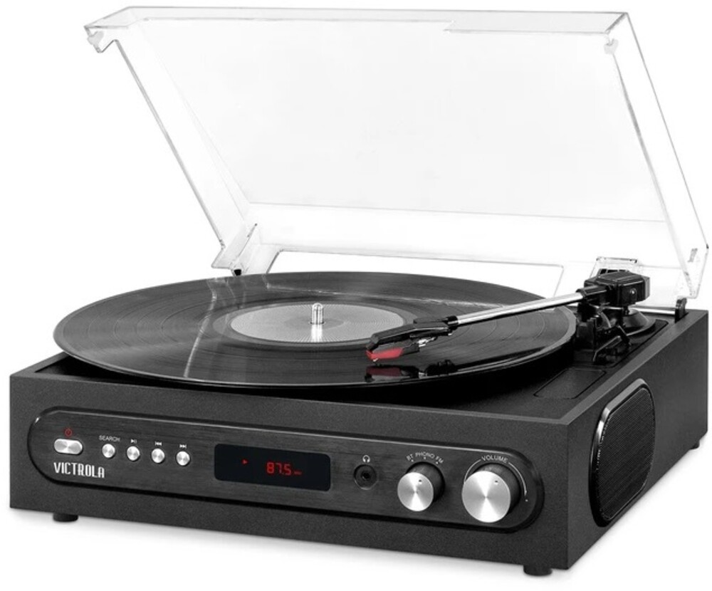- Victrola VTA67BLK Retro 3-in-1 Bluetooth Wireless Turntable 3 Speeds Built in Speakers FM Radio (Black)