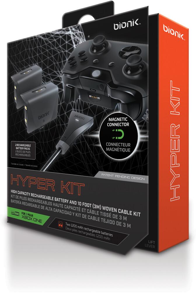 Bionik Bnk9006 Hyper Kit Xb1 Controller Batt Black - BIONIK BNK-9006 HYPER KIT Xbox One Controller High-Capacity Rechargeable Battery 2-Pack and Cable (Black)