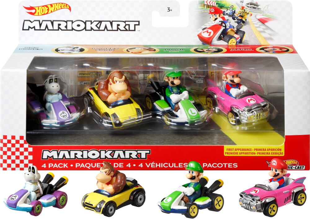 Hot Wheels Mario Kart - Mattel - Hot Wheels Mario Kart Die-Cast 4-Pack Assortment (Nintendo)