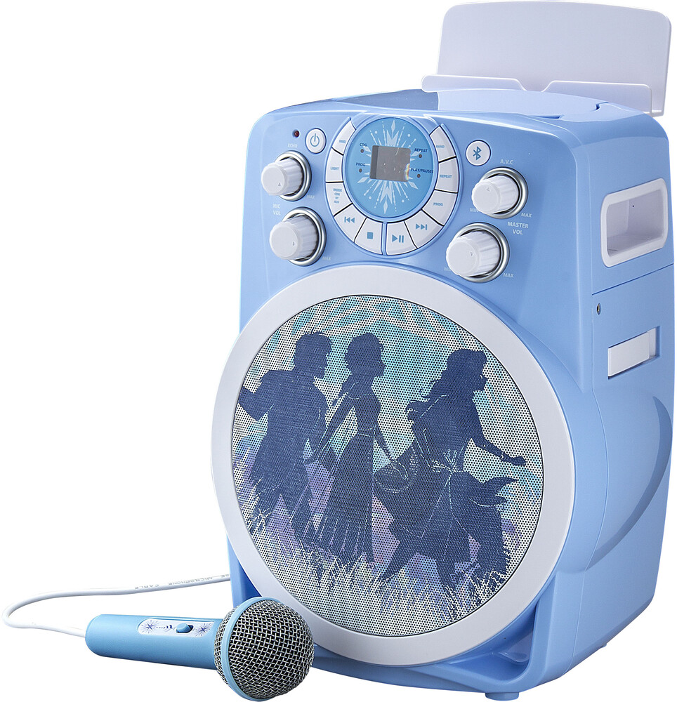 Frozen II Fr-673.Exv9M Bt Karaoke Machine Blu/Wht - Frozen II FR-673.EXV9M Bluetooth Wireless Karaoke Machine Plays CDGDisks Inclues Auto Voice Control (Blue/White)