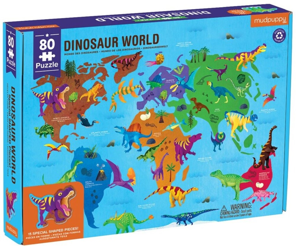 - Dinosaur World Geography Puzzle 80 Piece Family Puzzle