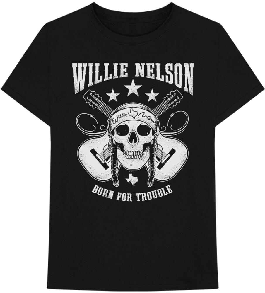 Willie Nelson - Willie Nelson Born For Trouble Skull Black Unisex Short Sleeve T-shirt Small