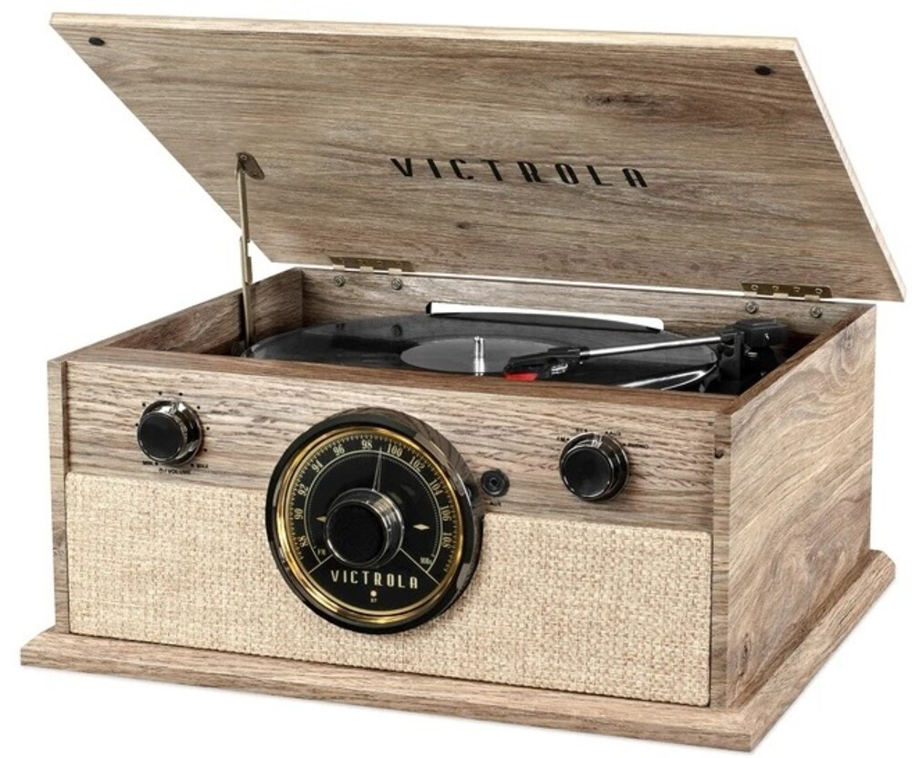 - Victrola VTA-245B-FOT 4-in-1 Cambridge Farmhouse Modern BluetoothTurntable 3 Speeds with FM Radio Built in Speakers (Farmhouse O