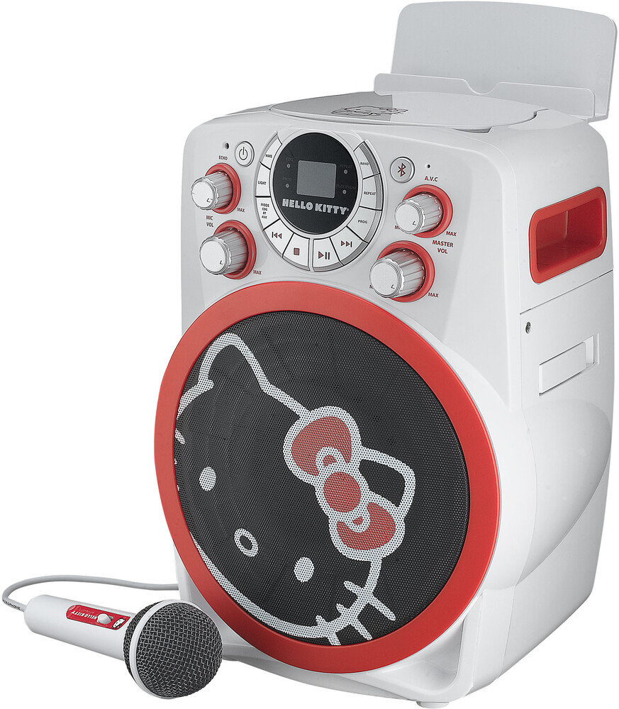 Hello Kitty Hy-673.Exv9 Bt Karaoke Machine White - Hello Kitty HY-673.EXV9 Bluetooth Wireless Karaoke Machine plays CDGDisks and LED Lights with Wired Microphone (White)
