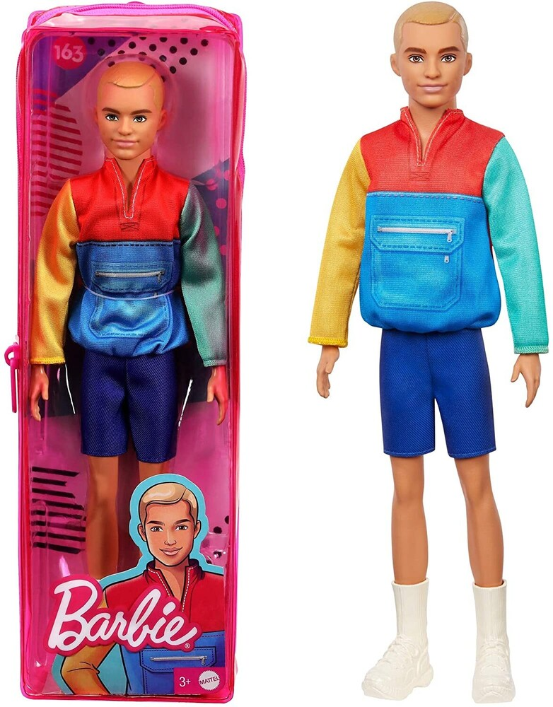 - Mattel - Barbie Ken Fashionista, with Sculpted Blonde Hair Wearing Color-Blocked Jacket-Style Top