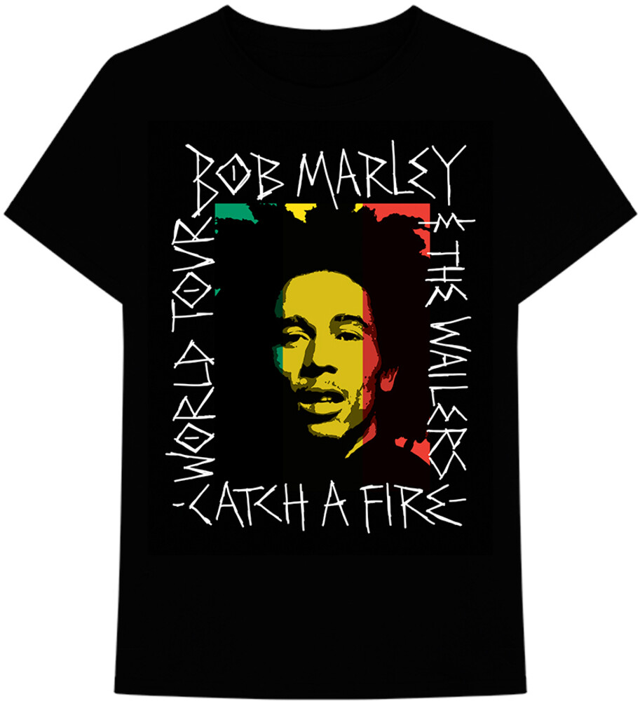 Bob Marley Catch a Fire Black Ss Tee M - Bob Marley & The Wailers Catch A Fire World Tour Handwritten FrameBlack Unisex Short Sleeve T-shirt Medium