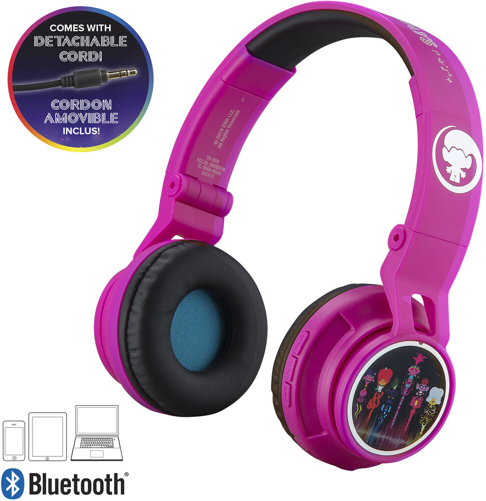 Trolls Tr-B50.Fxv0M Bt Youth Hdphn Mic Magenta - Trolls TR-B50.FXV0M Bluetooth Wireless Youth Headphones On Ear WithVolume Limiting Includes Microphone (Magenta)